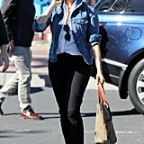 Black Jeans with A White Blouse, and Denim Jacket in South Africa in Sep 2019