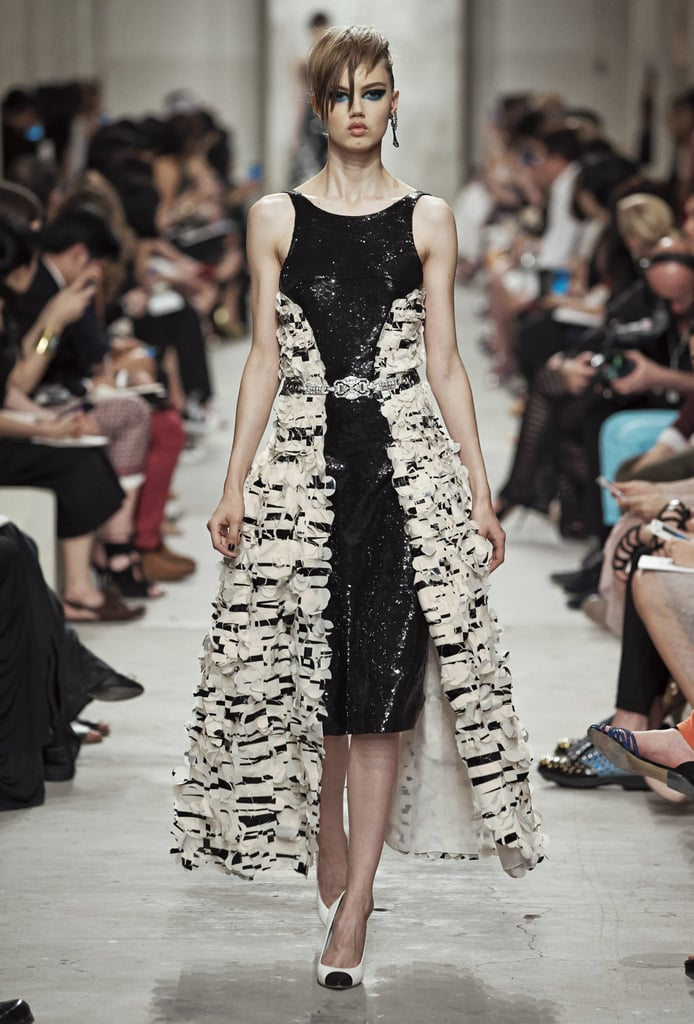 Some extra skirt didn't hurt this runway look. The addition of a print and the bold silhouette took things to another level. Source: Chanel