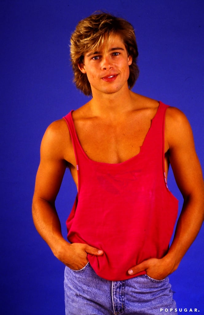 More than two decades ago, when Brad Pitt was in his early twenties and starring on the TV show Dallas, he posed for this totally rad photo shoot. It was 1987, so the outfits were just as great as you'd imagine; baggy button-downs, high-rise jeans, and bright scoop-neck tank tops made up the late-'80s wardrobe. For some of the pictures, Brad paired up with his then-girlfriend, Dallas costar Shalane McCall, but in others, he struck some classic (and hilarious) pinup poses. To celebrate Brad's 51st birthday this week, take a look at 100 pictures from Brad Pitt's 1987 photo shoot, and then be sure to check out that time Brad starred in an '80s Pringles ad.