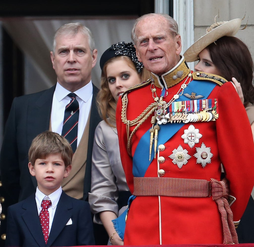 Beatrice was spotted peeking out from behind her grandfather as he watched the Trooping the Colour with James, Viscount Severn, in June 2015.