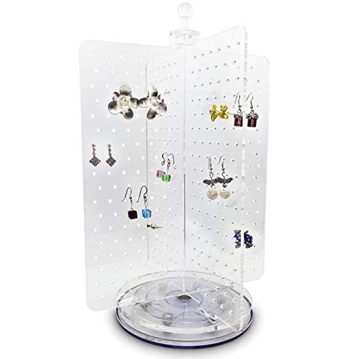 The rotating design of the Ikee Design Spinning Acrylic Jewelry & Earring Organizer ($22) means it a total space-saver — but it can still hold up to 216 pairs of earrings! The four panels make it easy to organize your collection by color, length, or style, too.