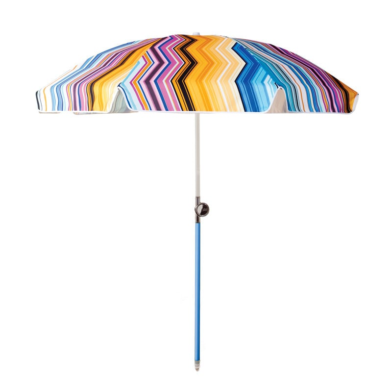 For a special splurge, the Spanish Chevron umbrella ($239) by Basil Bangs offers UPF protection and will make your family the most stylishly shaded on the beach!