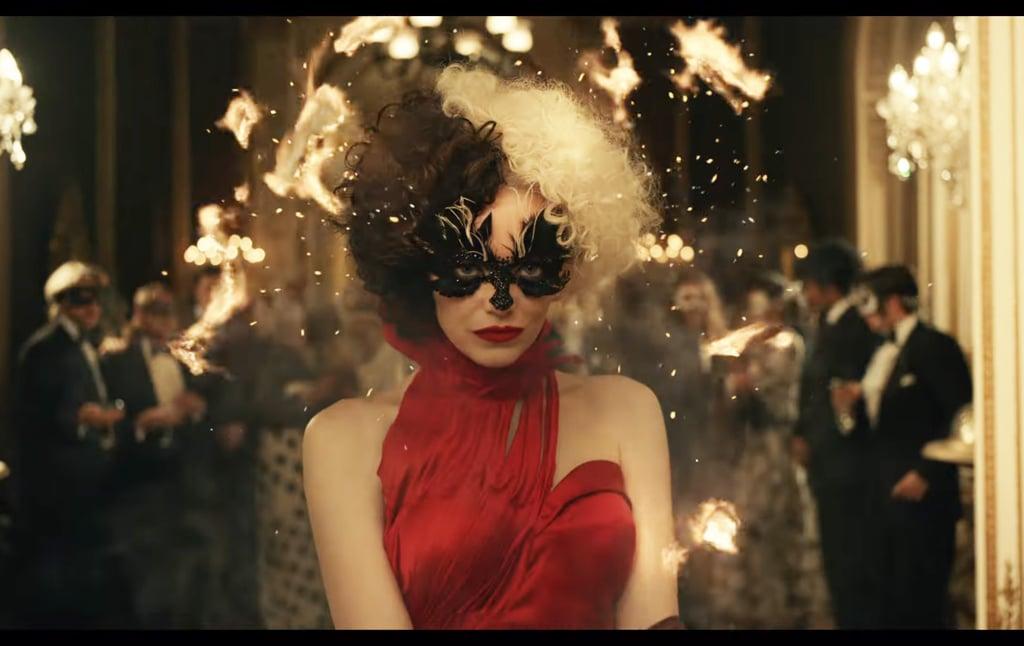 Emma Stone's Red Dress in Disney's Cruella Trailer