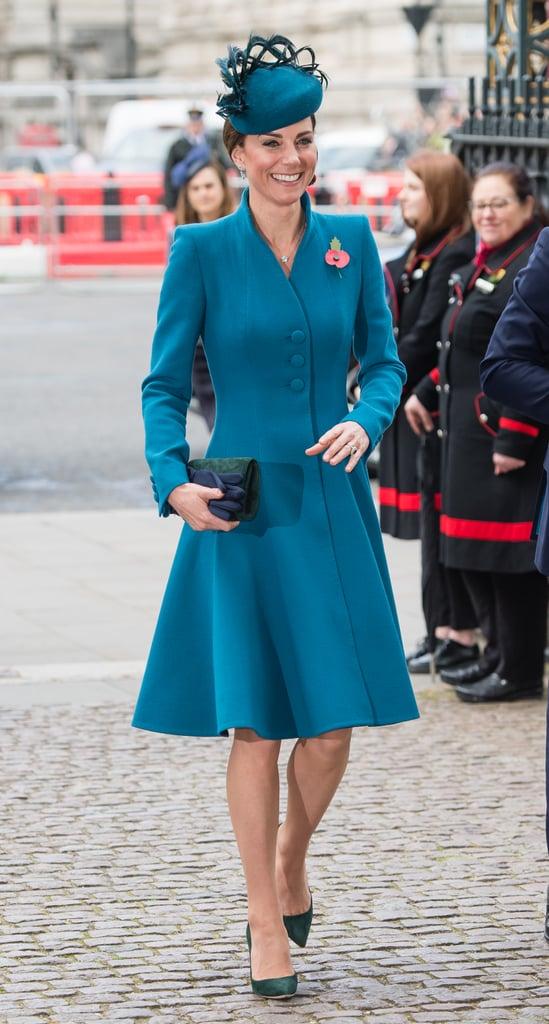 Kate Middleton Teal Coat Anzac Day April 2019 Popsugar