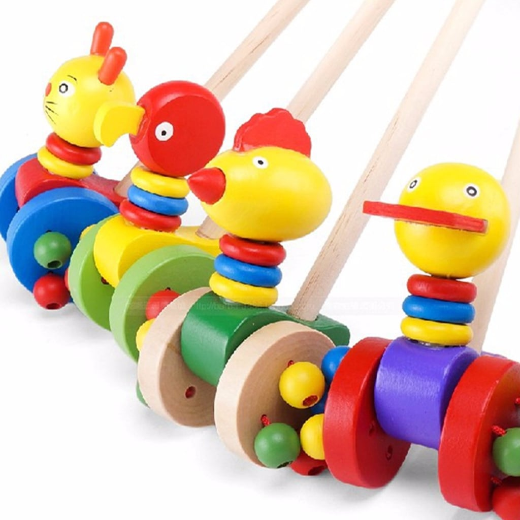Colorful Wooden Kids Developmental Toy Animal Pattern Baby Push Along Walker Toy