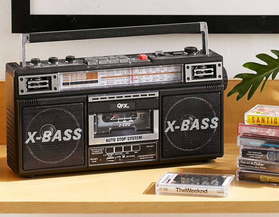 Radio, Cassette, and MP3 Boombox