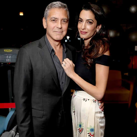 Amal Clooney White Floral Trousers October 2016