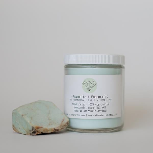 Amazonite and Peppermint Soy Crystal Candle