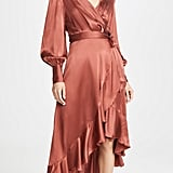 Zimmermann Espionage Silk Wrap Midi Dress