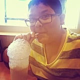 Rico Rodriguez blew bubbles into his milkshake. Source: Instagram user starringrico