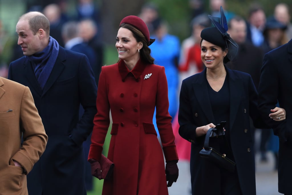 Meghan Markle Black Coat on Christmas Day 2018