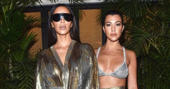 Kourtney, Kim Kardashian Twin in Skin-Baring Metallics at Balmain Aftershow