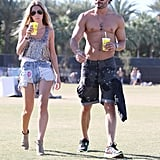Joe Manganiello showed off his abs going shirtless with a female friend at weekend two of Coachella.