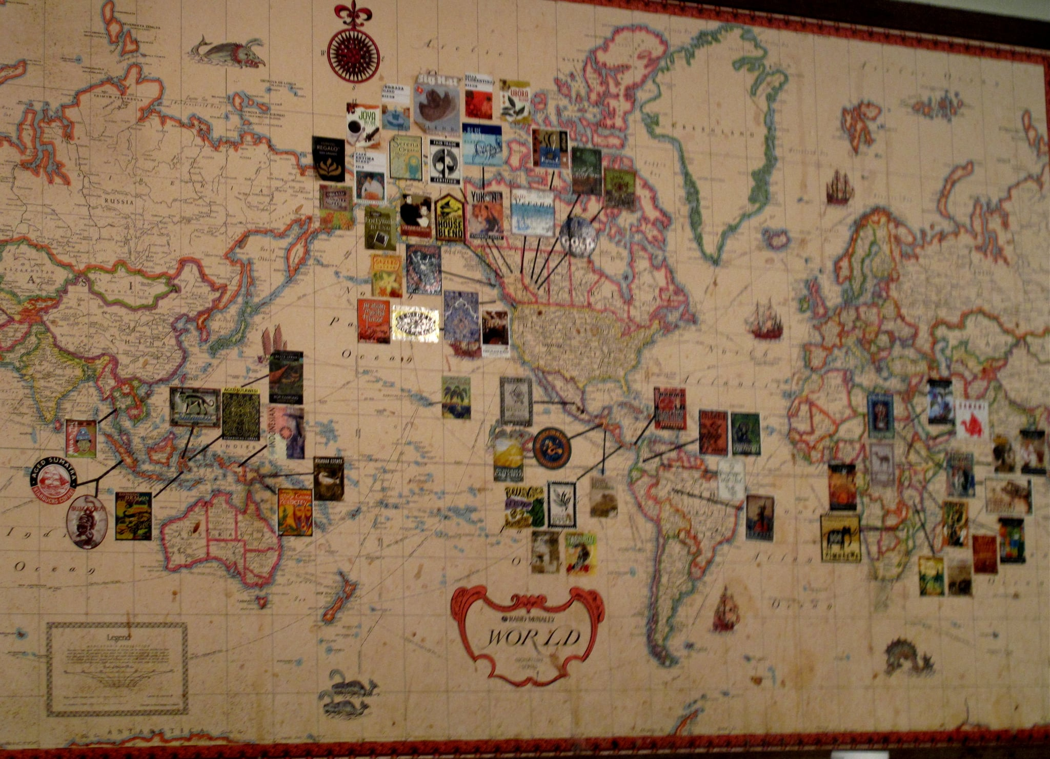 A map of the world shows all the various types of coffees across the globe that are roasted by Starbucks.