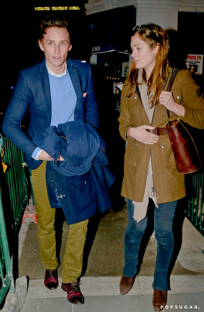 """Eddie Redmayne had his girlfriend, Hannah Bagshawe, by his side for a date night in London last evening. The couple caught the opening night of previews for Peter and Alice and joined in on the afterparty following the show. Eddie was in the audience this time around after taking the stage for a performance with his Les Misérables costars at last month's Academy Awards. He also had the support of his girlfriend for his big Oscars night, and the duo posed together on the red carpet.  Eddie can currently be seen cozying up to another leading lady, Brit Marling, on the cover of April's W magazine. Inside the issue, he opens up about scoring the part as Angelina Jolie's son in 2006's The Good Shepherd, revealing that, """"I doubt it was my acting  — I have my big lips to thank for getting cast."""""""