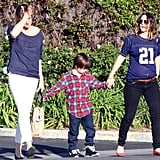 Drew Barrymore hung out with friends in LA.