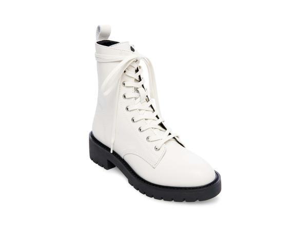 Steve Madden Grid White Leather Combat