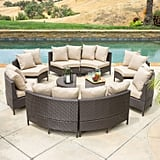 Nathan 10-Piece Dark Brown Wicker Lounge Set With Cushions