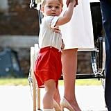 Prince George's look is reminiscent of the first time his father, Prince William, met Prince Harry at the hospital.