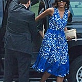The FLOTUS showed off a blue-printed Tracy Reese dress and flats on her way into Sasha's dance performance in June 2013.