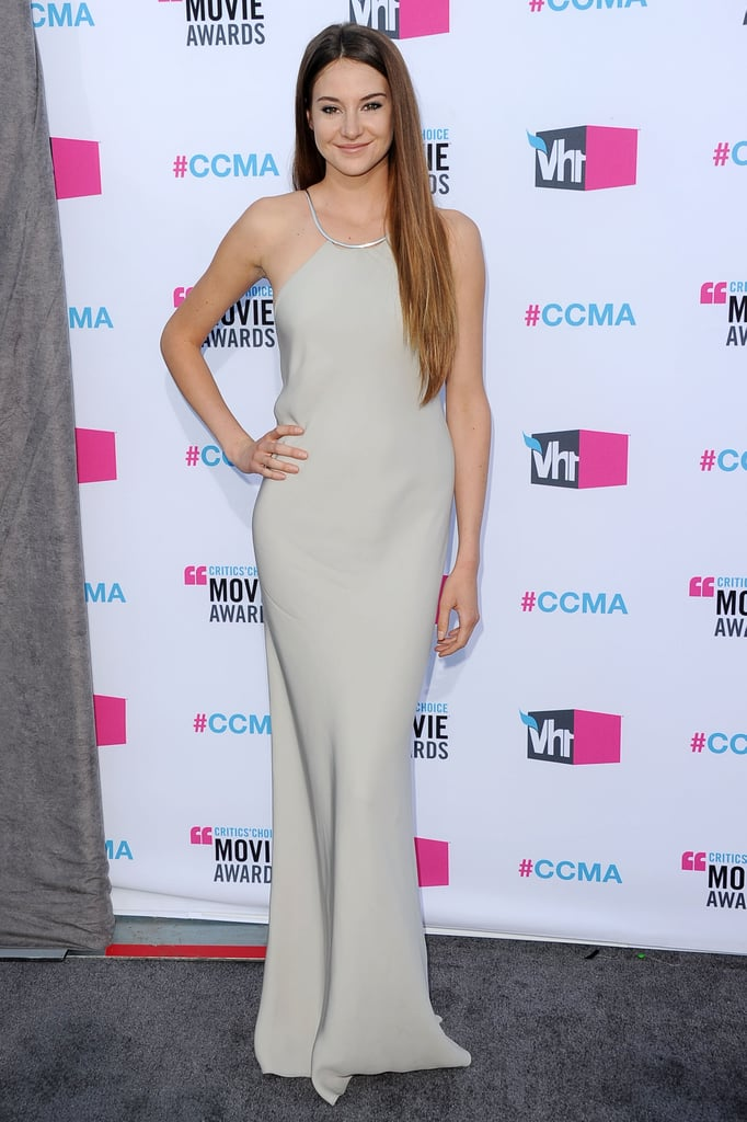 Shailene Woodley was a vision in her gray Calvin Klein dress.