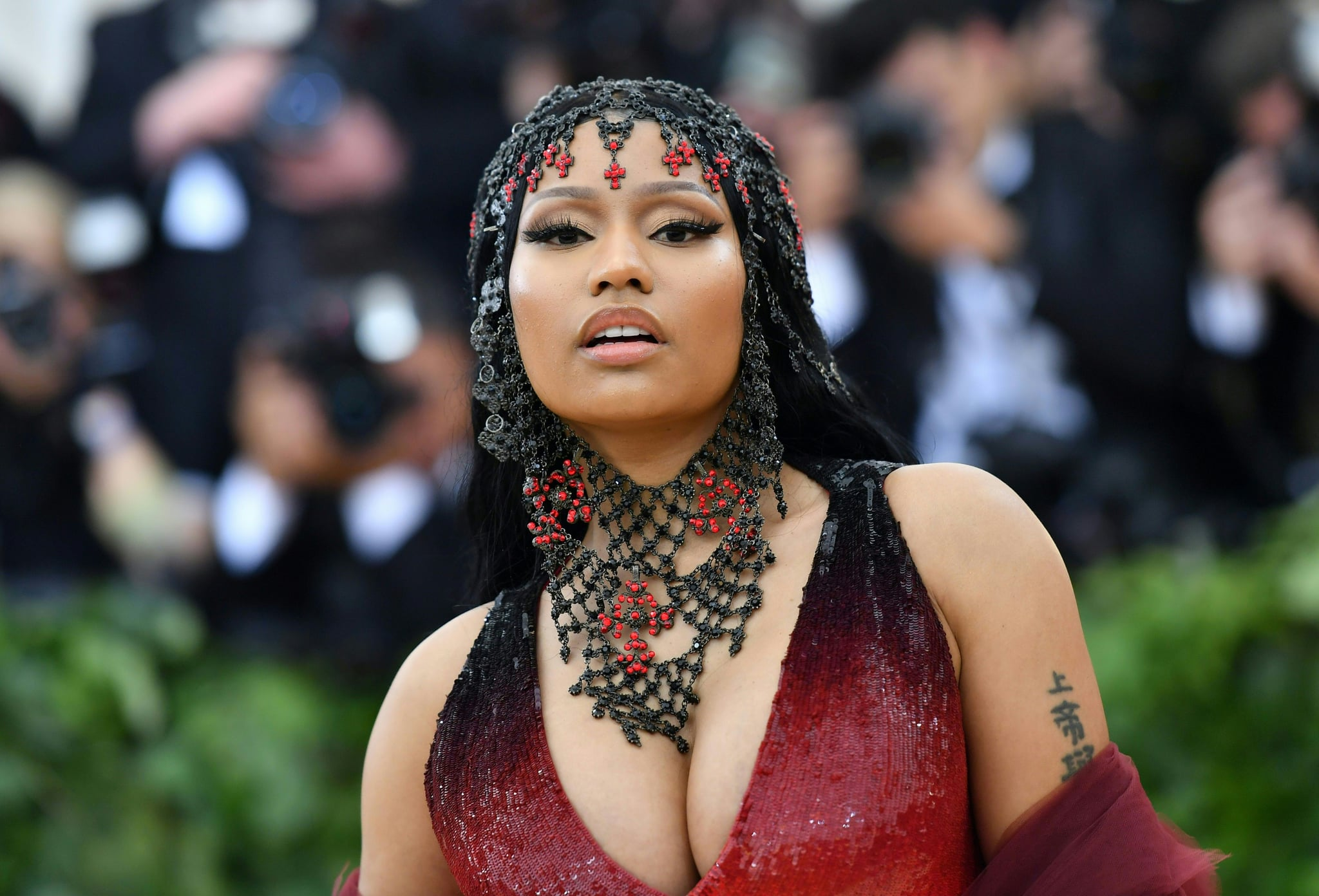 Rapper Nicki Minaj arrives for the 2018 Met Gala on May 7, 2018, at the Metropolitan Museum of Art in New York. (Photo by Angela WEISS / AFP)        (Photo credit should read ANGELA WEISS/AFP via Getty Images)