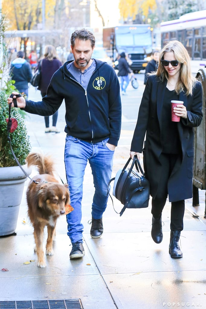 Amanda Seyfried and her fiancé, Thomas Sadoski, braved the chill in NYC while taking her dog Finn for a walk on Thursday. The actress, who revealed her pregnancy at an event earlier this week, clutched her coffee cup and covered up her belly in a loose-fitting black top and jacket. On Tuesday night, news broke that Amanda and Thomas are expecting their first child; while neither actor has confirmed the exciting news, Amanda popped up at a Givenchy press launch in a curve-hugging dress that showed off her growing baby bump. The couple went public with their relationship back in March and got engaged in September.      Related:                                                                                                           Buns in the Oven: 21 Stars Who Are Expecting Babies in the New Year