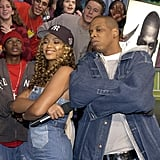Beyoncé and Jay Z wore matching denim when they appeared on TRL together in 2002.