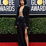 Kerry Washington's Bra-Less Blazer and Silk Skirt at the 2020 Golden Globes