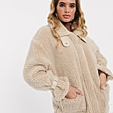Missguided borg aviator jacket in cream