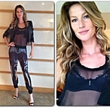 Gisele Bündchen showed off her figure in a sheer top and printed pants before heading to her lingerie collection launch. Source: Instagram user giseleofficial