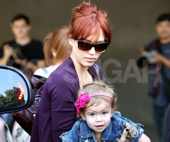 Slide Photo of Jessica Alba Carrying Honor Marie Warren to the Car in LA