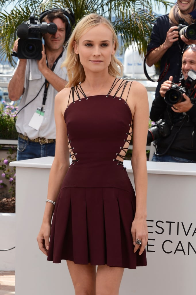 Diane Kruger wore a sexy lace-up dress for the jury photocall at the Cannes Film Festival.