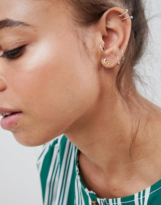 Kingsley Ryan Sterling Silver Gold Plated Snake Stud Earrings