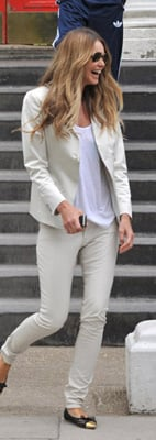 Elle Macpherson Wears White Jeans and Blazer For School Run