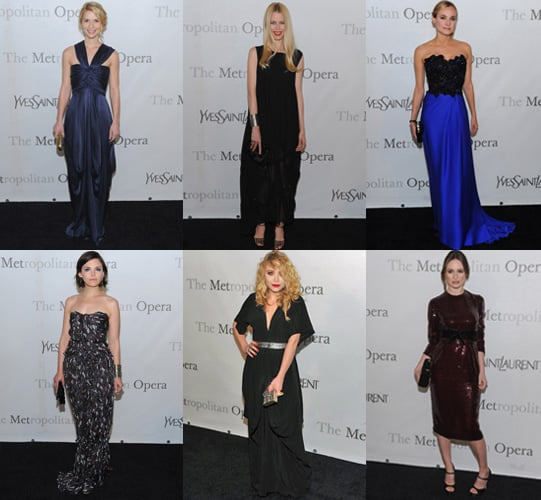 Claudia Schiffer, Mary Kate Olsen, Diane Kruger, Emily Mortimer, Ginnifer Goodwin, Claire Danes at Met Opera Gala