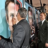 George Clooney Doodling on Ryan Gosling's Face