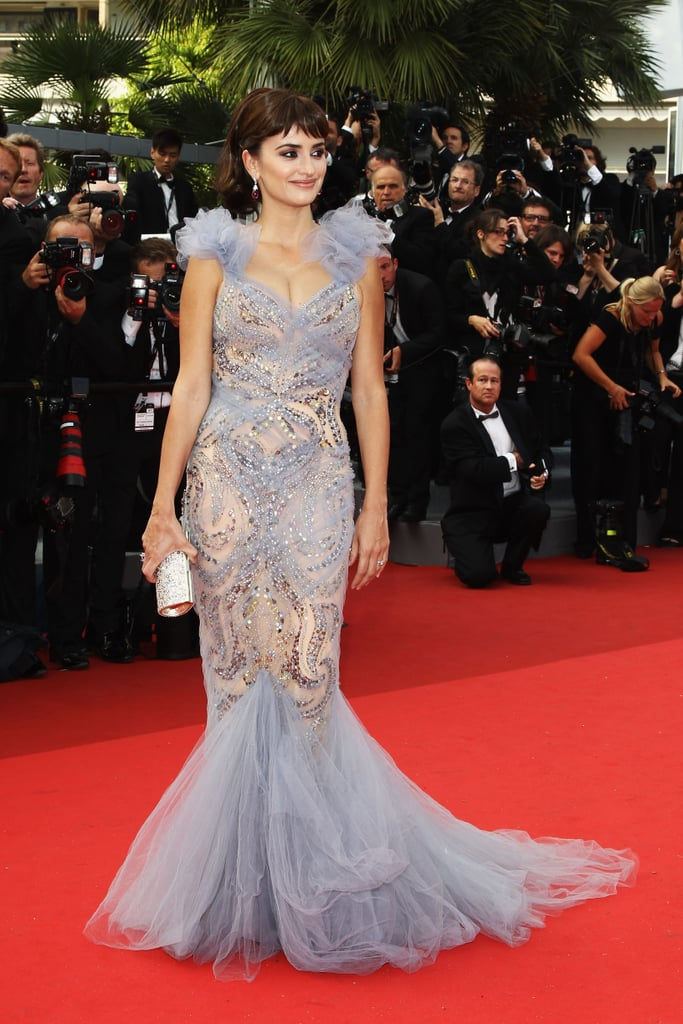Penélope Cruz wore a Marchesa gown for the 2011 Cannes premiere of Pirates of the Caribbean: On Stranger Tides.
