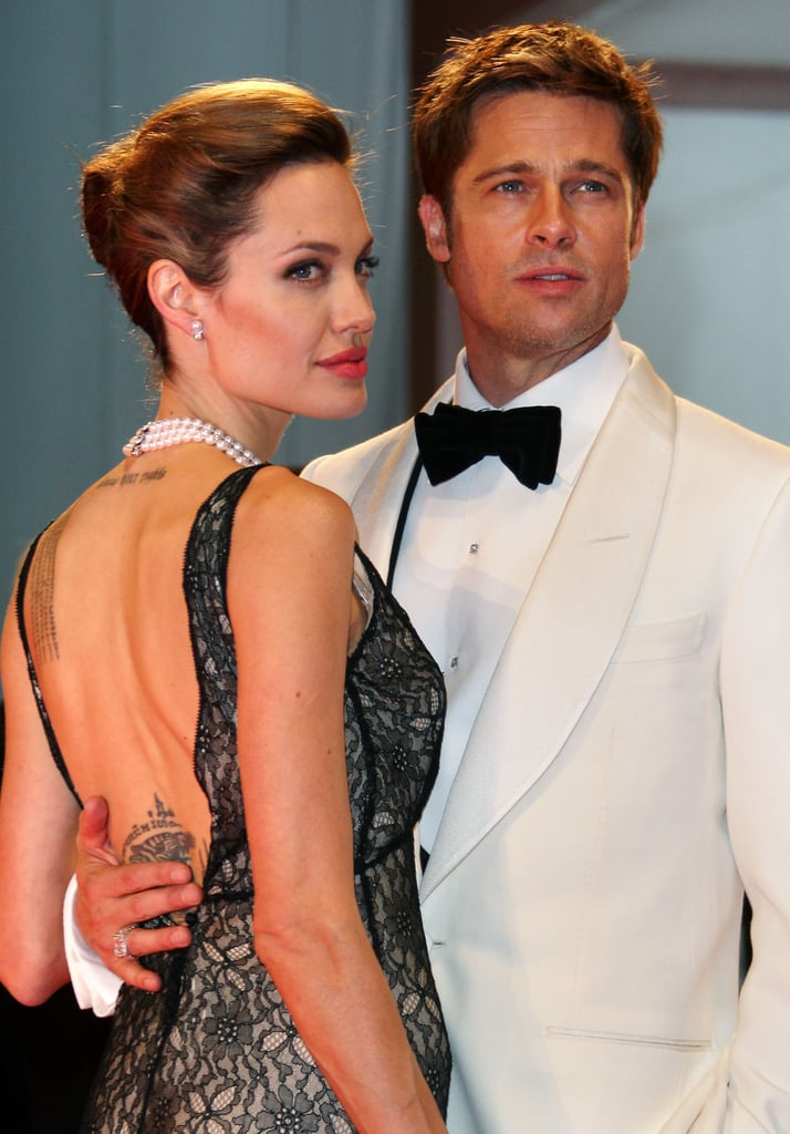 Angelina Jolie wore a sexy lace dress to the 2007 premiere of Brad Pitt's The Assassination Of Jesse James at the Venice Film Festival.