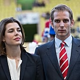 Andrea and his sister, Charlotte, attended the World Stars football match in May 2013.