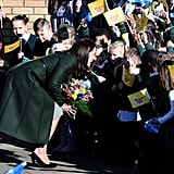Kate greeted students outside Scotland's St. Catherine's Primary School and looked at the work of the children's mental health charity Place2Be in February 2016.