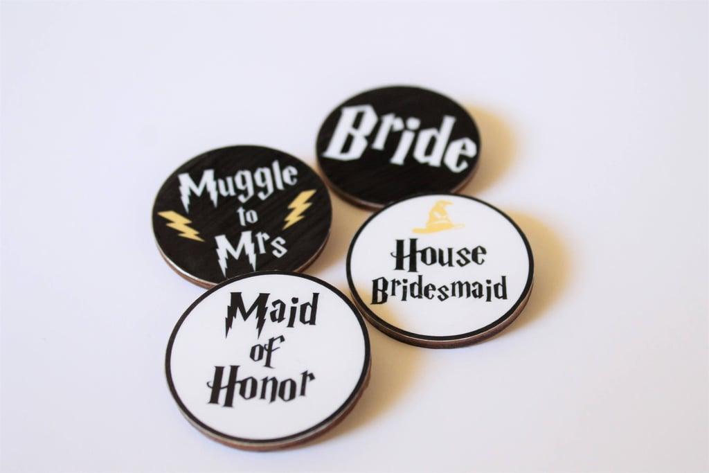 Harry Potter Wooden Bachelorette Party Badges