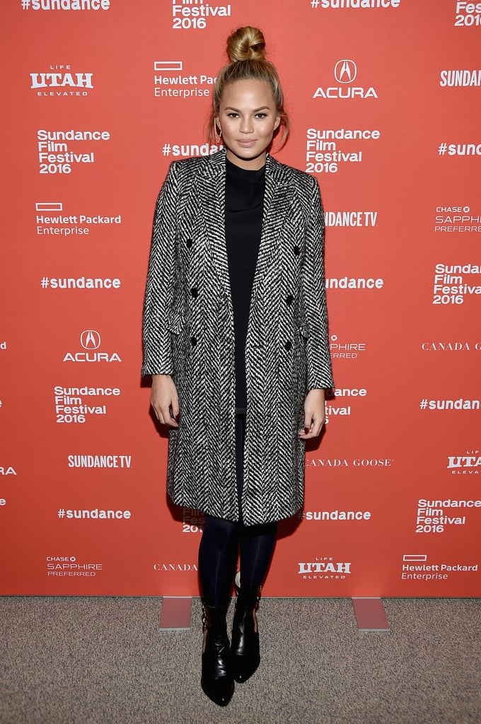 Chrissy went with a Saint Laurent coat and topknot look for an appearance at the Sundance Film Festival.