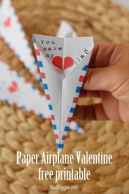 Paper Airplane Valentine's Printable