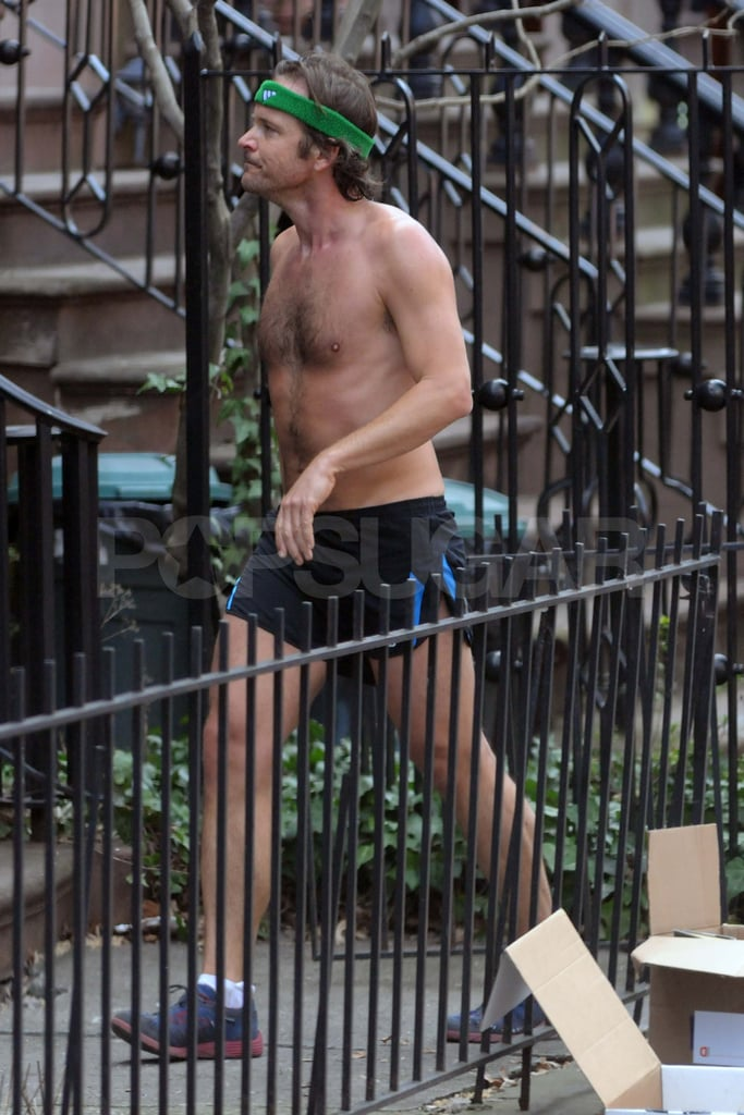 Peter Sarsgaard running shirtless in NYC.