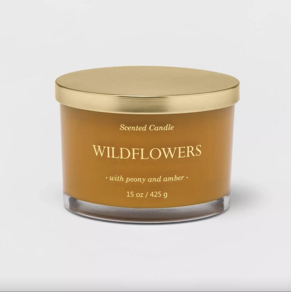 Wildflowers Lidded Glass Jar Solid Color 3-Wick Candle