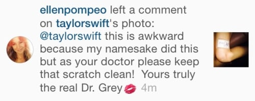 When Meredith's namesake left Instagram comments for Taylor about her