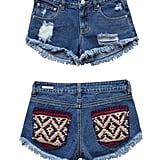 Erin Wasson High Rise Blanket Pockets Destructed Boxy Shorts ($50)