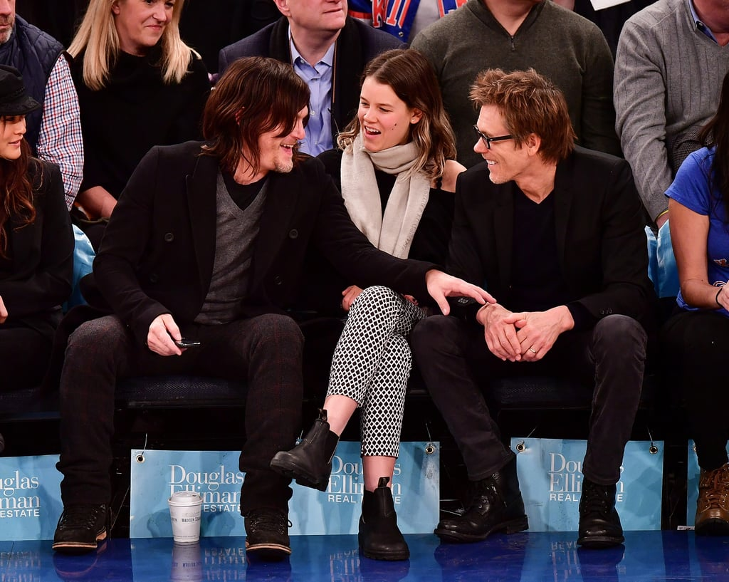 Exactly four years ago, Norman Reedus tweeted about seeing one of his idols, Kevin Bacon, on a plane and being too embarrassed to say hi. Thankfully he got a second chance at the Knicks game on Monday night. With The Walking Dead on Winter hiatus, Norman took a break from fending off hordes of zombies to share a few laughs with Kevin and Kevin's 24-year-old daughter, Sosie, while they watched the home team take on the New Orleans Pelicans at Madison Square Garden. He also chatted with a mystery companion, who unfortunately wasn't BFF Andrew Lincoln. Now excuse us while we humbly petition Hollywood to make a buddy cop movie starring these two . . .      Related:                                                                The Walking Dead Cast Actually Looks Pretty Fresh Without the Blood and Grime                                                                   Norman Reedus and Jeffrey Dean Morgan's Bromance Is the Stuff of Legend