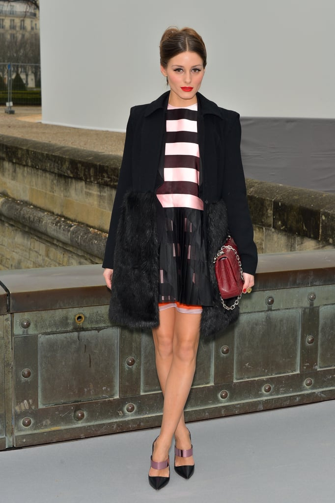 Olivia Palermo in Striped Dior Dress